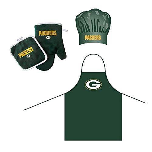 NFL Green Bay Packers Team Logo Barbeque Apron, Chef's Hat and Pot Holder Deluxe Set