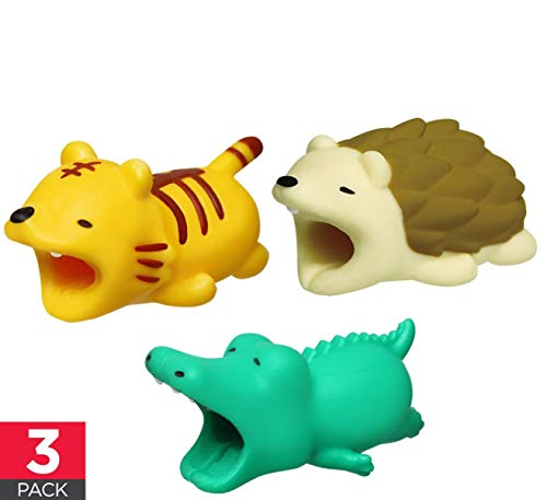 Cable Buddies Bites Animals Protector Compatible with iPhone Cords - Say NO to Broken Cables - Tiger Hedgehog Crocodile - 3 Pack