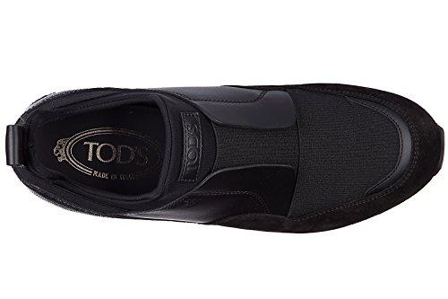 Tods Slip On Femme en Daim Sneakers Sportivo Yo Pantofola Noir
