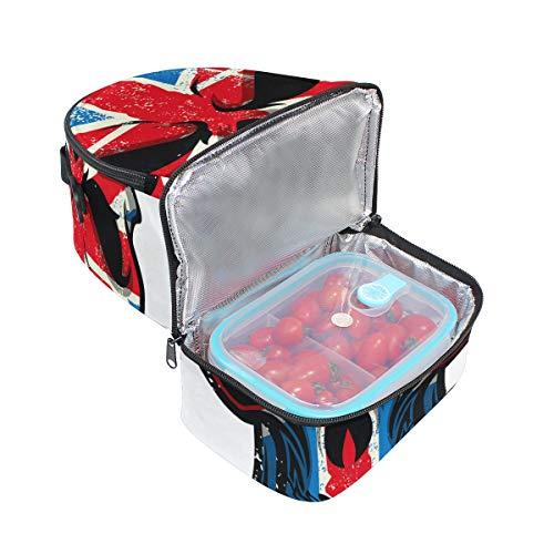 calavera FOLPPLY Bolsa almuerzo para con británica el la diseño de térmica bandera rxqSrW0Iwd