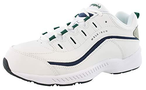 Easy Spirit Women RoadRun Walking Shoe (7.5 XW US, White Navy Green)