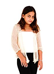 Shu-Shi Girls\' Knitted Tie Top Shrug Cardigan shirt dress cover up for 2Y-12Y