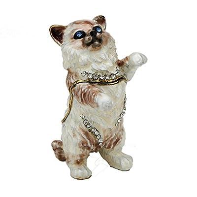 Rag doll Cat Pewter Figurine Collectible Box - Swarovski Crystals, Trinket Box, Pill Box, Kitten Box