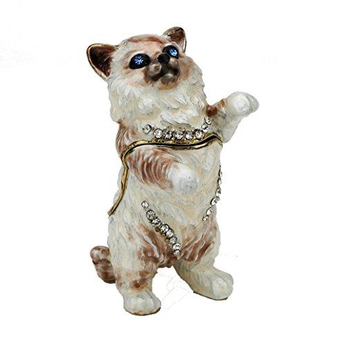 Rag doll Cat Pewter Figurine Collectible Box - Swarovski Crystals, Trinket Box, Pill Box, Kitten Box Pewter Crystal