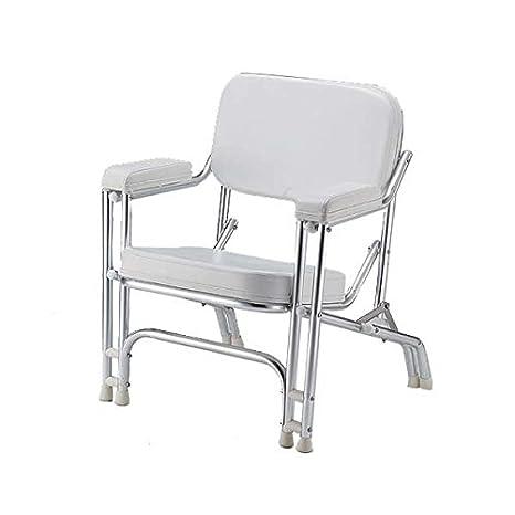 Color blanco Marina vinilo acolchado silla de cubierta de ...