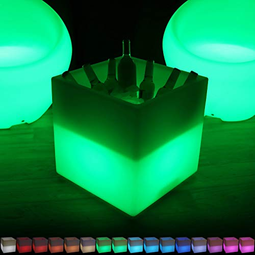 Sunnydaze Indoor/Outdoor LED Ice Bucket with Remote Control, Rechargeable Battery, RGB Color-Changing, 16-Inch Cube by Sunnydaze Decor (Image #8)