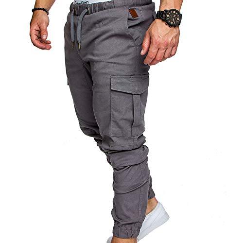 (Pants Men Cotton Clothes Hip Hop Streetwear Joggers Pantalon Hombre Sweatpants Pants Man Trousers Casual Pantalon Homme Cargo,Light Grey,M)