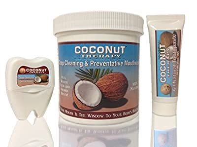 3 Piece Oil Pulling Coconut Therapy Oral Kit:16oz Coconut Oil Mouthwash,Coconut Oil Floss&(#1 Best Tasting)All Natural Coconut Oil Toothpaste!See our 4oz tthpste &Travel kit,Foot Cream,Organic Hand Cream