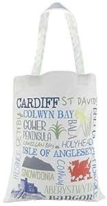 Evans Lichfield hecho en Reino Unido 100% algodón gamuza de Tote bolsa de la compra lugares Gales Cardiff Snowdonia Gower