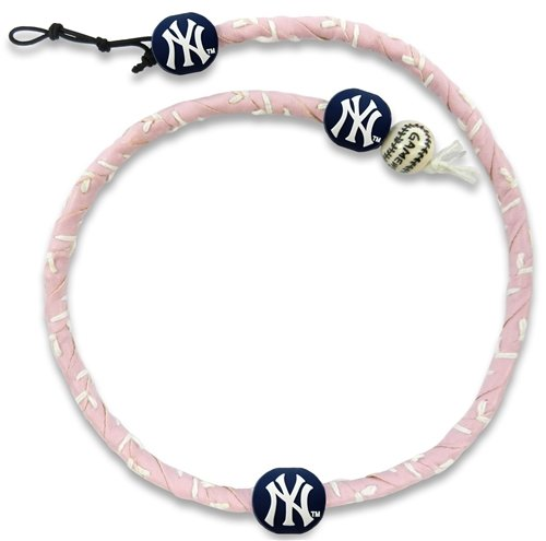 MLB New York Yankees Pink Leather Frozen Rope Baseball Necklace