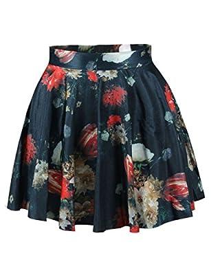 Wildestdream Womens Mini Stretchy Flared Pleated Skater Skirt