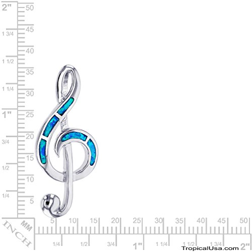 Tropical USA Sterling Silver Created Blue Opal Musical Note Treble Clef Necklace Pendant with 18 Box Chain