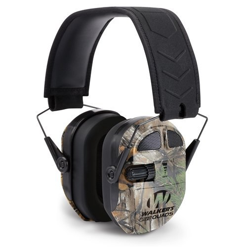 GSM Outdoors GWP-XPMQRT Walkers Game Ear Ultimate Power Muff Quads with Adjustable Frequency Tuning/Electric/Realtree Extra