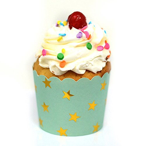 chevron blue cupcake liners - 6