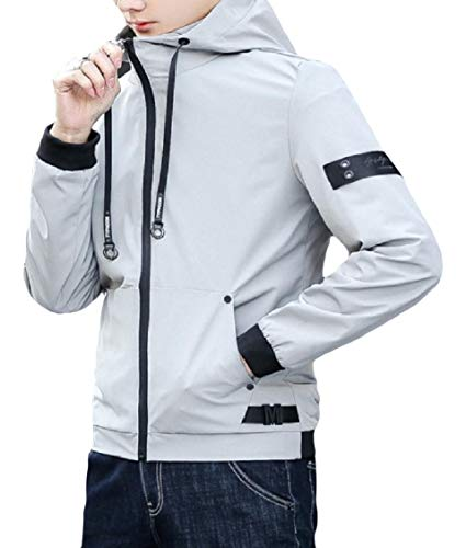 EnergyMen Pocket Plus Size Drawstring Zipper Slim Hoodie Patchwork Coat Jacket Grey