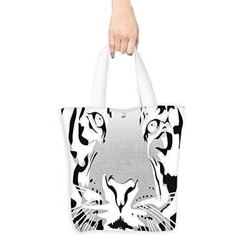 Custom Shoulder BagsAfrican Asian Wildlife Animal Tiger Big Cat Abstract Image Artwork Black White Grey Birthday Present Gift W11 x H11 x D3 INCH