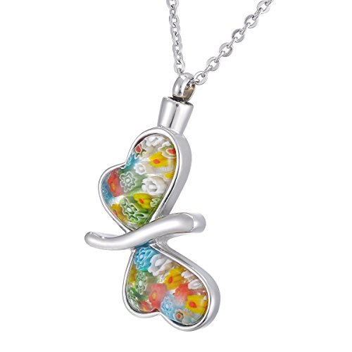 (Memorial Urn Necklace Murano Glass Butterfly Pendant Ashes Keepsake Cremation Jewelry)