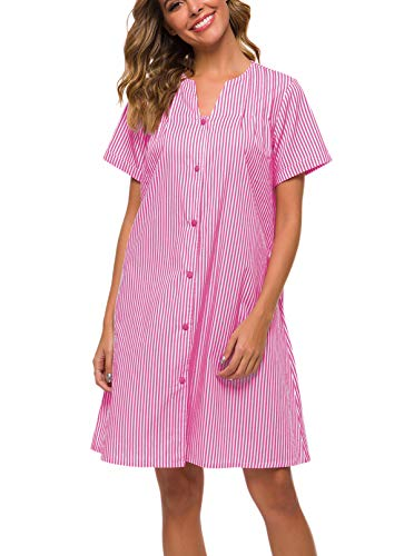 Coat Button Down - YOZLY Sleepwear Womens Duster Robe Button Down House Dress Short Sleeve Cotton House Coat Nightgown S-XXL (Purple, X-Large)