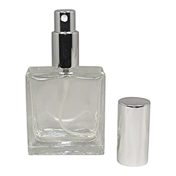 0724762ba28c 1.7 oz (50ml) Square Flint Glass Empty Refillable Replacement Glass Perfume  or...