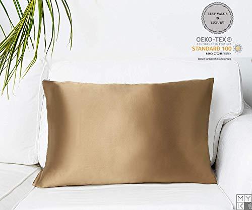 MYK 100% Pure Natural Mulberry Silk Pillowcase, 19 Momme Cotton Underside Hair & Facial Beauty, Queen Size 20