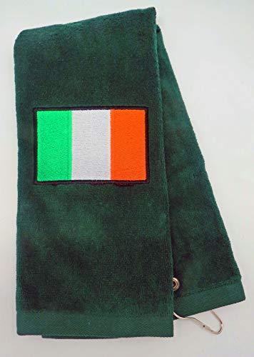 Mana Trading Custom Personalized Embroidered Golf Towel Irish Flag (Hunter Green)