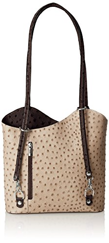 Italy Leather Made Multicolor Fango 100 Ostrich Women's Shoulder Bag in Manico Marrones Con Genuine 28x30x9cm Leather CTM gUwz8xqP7