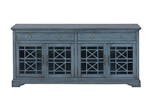 "Jofran: 175-9, Craftsman, 70"" Media Unit, 70""W X 19""D X 32""H, Antique Blue Finish, (Set of 1)"