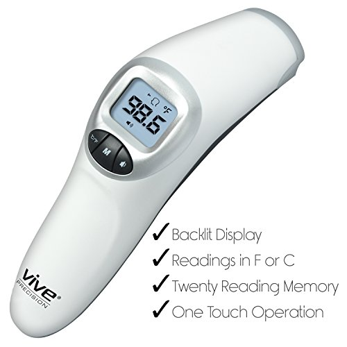 Forehead Thermometer by Vive Precision - Digital Thermometer for Babies, Adults, and Elderly - Accurate & Instant Reading