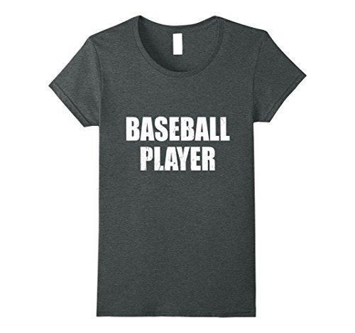 Baseball Player Costume Female (Womens Baseball Player Shirt Halloween Costume Funny Distressed Medium Dark Heather)