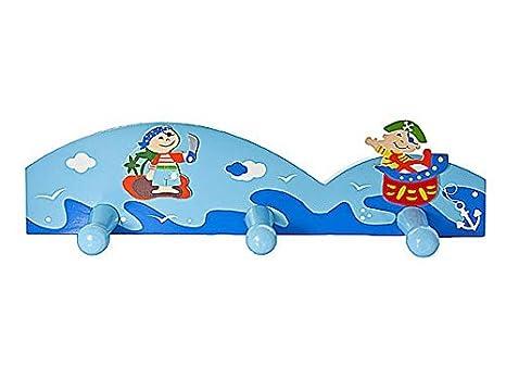 Triple gancho percheros de pared infantil la ropa en tonos azules y decoración de piratas para la habitación de los niños