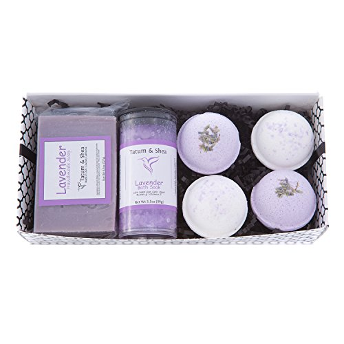 Bath / Spa Gift Set |Natural Handmade Lavender Soap Bar, Lavender Scented Dead Sea Bath Salt, 4 Fizzy Bath Bombs (2 Each, Lavender and Coconut Milk & Lavender)|Gift Boxed | Made in USA by Tatum & Shea