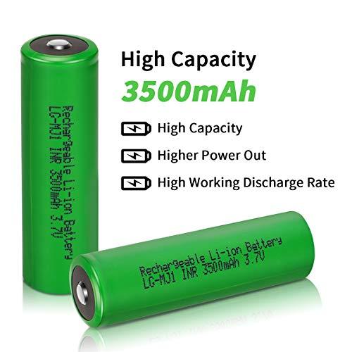 18650 Akku, Keenstone 2 Stücke 3500mAh 3,7V Wiederaufladbarer Batterie 18650 Li-Ionen Button Top Akku für LED-Taschenlampe, Ferngesteuertes elektronisches Spielzeug, Mikrofon-[Nicht für E-Zigaretten]