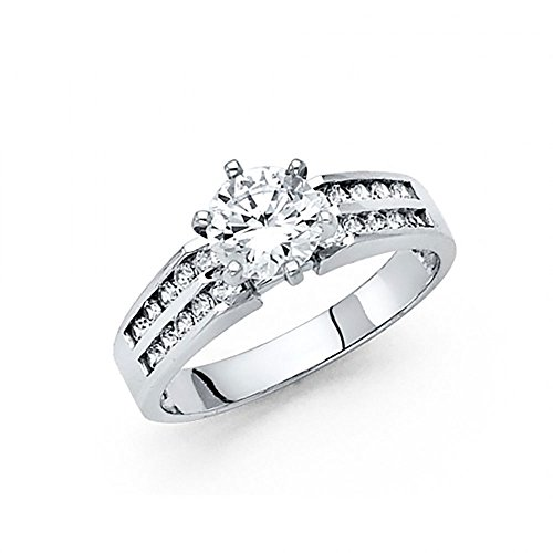 - 14k White Gold CZ Double Row Channel Set Engagement Ring