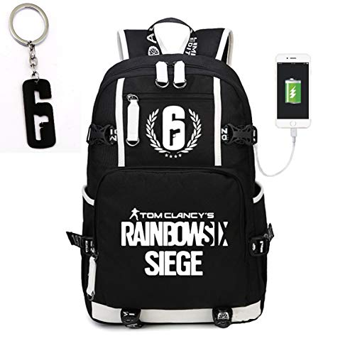 Teaspen Tom Clancy Rainbow Six Siege Luminous USB Charging Port Backpack Black Oxford Cloth Bag Includes Free R6 Keychain
