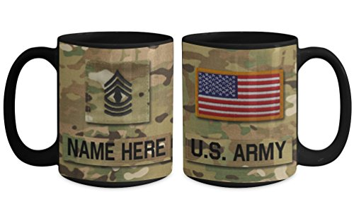 Sergeant Coffee Mug (US Army First Sergeant (1SG), E8 Mug - Personalized - Customize with Name/Text/Rank; 15 oz Cup - Gift for Veteran, Dad, Husband, Mom, Wife, Brother, Sister, Son, Daughter)