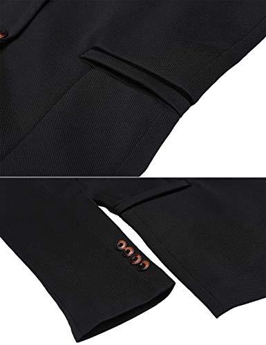 Long Blazer Smoking Jackets Sleeve Schwarz Men's Adelina Button Slim Suit 1 Jacket Casual Leisure Retro Fit H4Oaw1nq
