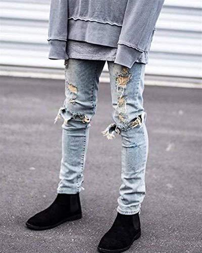 Moda Distrutti Casual Stretch Denim Pantaloni Jeans Hellblau Estilo Slim Especial Da Vintage Strappati Motociclista Fit In Uomo 7qwxAvn6wO