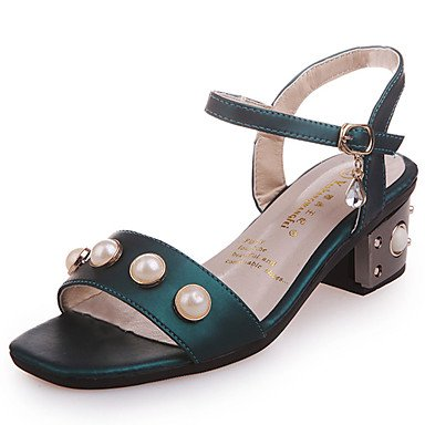 YFF Sandales femmes chaussures printemps été Robe Club PU occasionnels Talon Imitation Pearl,Boucle,Vert US5.5 / EU36 / UK3.5 / CN35