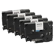 5 PACK SaveOnMany Brother TZe-231 / TZe231 / TZ-231 / TZ231 / TZ 231 Premium Quality Compatible Tape Black on White-0.47 in x 26.2 ft (12mm x 8m)