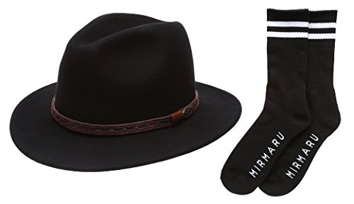 Men's Premium Wool Outback Fedora with Leather Band Hat with MIRMARU Socks.(HE59,BLACK,M)