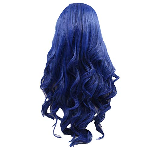 26inch Lace Front Wigs, Long Wavy Synthetic Wigs For Blue Women Natural Looking Wave Heat Resistant Fiber (Blue)]()