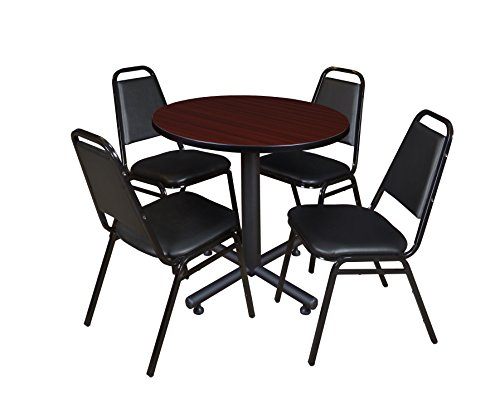 Regency Kobe 30-Inch Round Breakroom Table, Mahogany, and 4 Restaurant Stack Chairs, Black (Round Regency Chair)