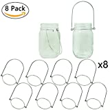 Vknic Stainless Steel Wire Handles (Handle-Easy),Great Mason,Ball,Canning Jar Hanger for Home,Garden,Patio,Tree Hanging (Regular Mouth, 8 Pack-Stainless Steel)