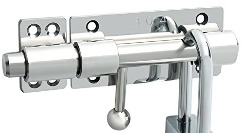 - Alise Slide Bolt Gate Latch Safety Door Lock with Padlock Hole,5/8-Inch Dia Bar Heavy Duty Solid Stainless Steel Chrome Finish(Don't Include Padlock)