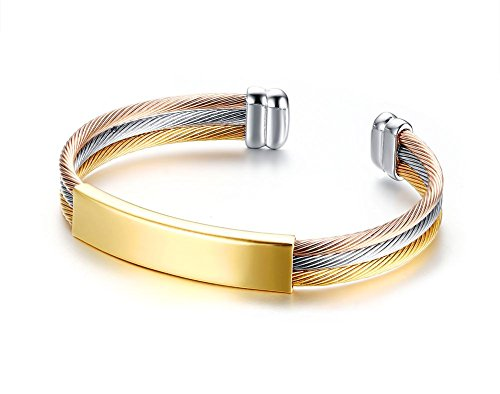 (Custom Engraving Tri-color Stainless Steel 3 Twisted Cable Wire ID Tag Cuff Bangle Bracelets for Women Girl)
