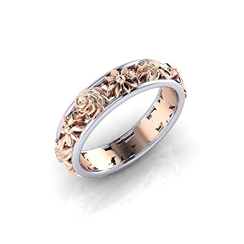 (HOTSKULL Genuine 925 Sterling Silver Ring Flower 18k Rose Gold Floral Jewelry Engagement Wedding Band Rings (7))