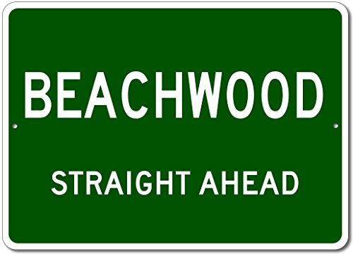 "The Lizton Sign Shop Beachwood, Ohio Straight Ahead Custom Novelty Aluminum Sign - Green - 10""x14"""