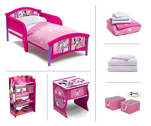 (Disney Minnie Mouse Toddler Room Set, 6-Piece (Toddler Bed | Bookcase | Side Table | Bedding Set | Storage Bins | Bonus Sheet Set))