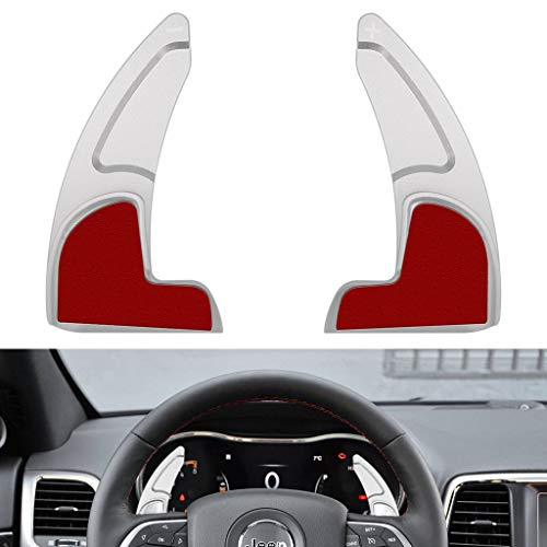 (Steering Wheel Extended Shift Paddle For Jeep Grand Cherokee 2014-2019 Shifter Extensions Covers Trim Aluminum (Matt Silver))
