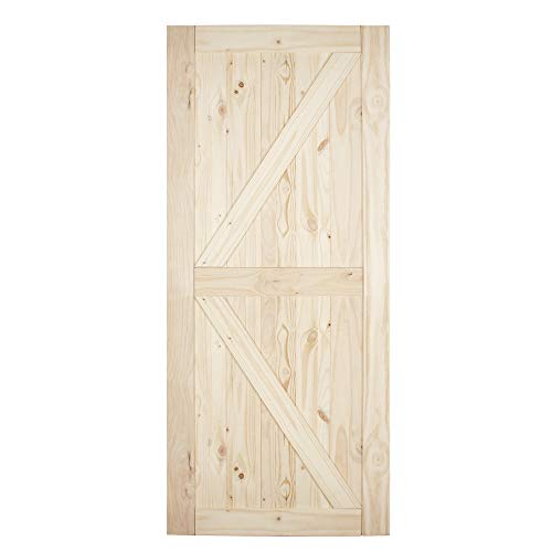 BELLEZE 36in x 84in Sliding Barn Wood Door Unfinished Knotty
